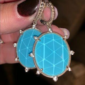 Judith Ripka double droplet turquoise earrings.